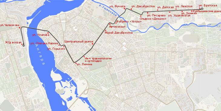 Иркутский трамвай, маршрут N