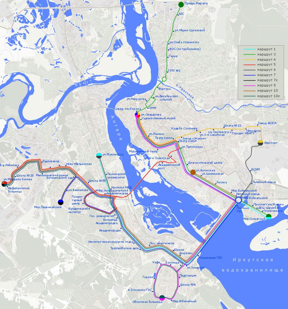схема трамвайных маршрутов иркутск