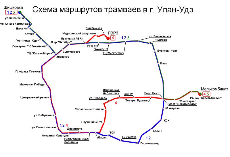 Схема движения маршрута 64 в улан-удэ